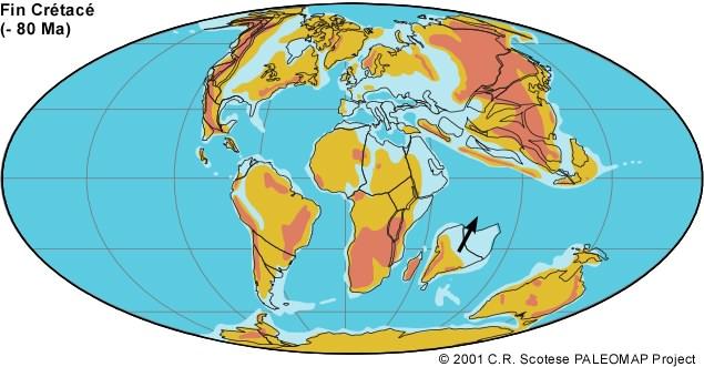 Le monde à la fin de l'ère secondaire, une bonne partie de l'Europe est recouverte par une mer peu profonde (bleu clair).