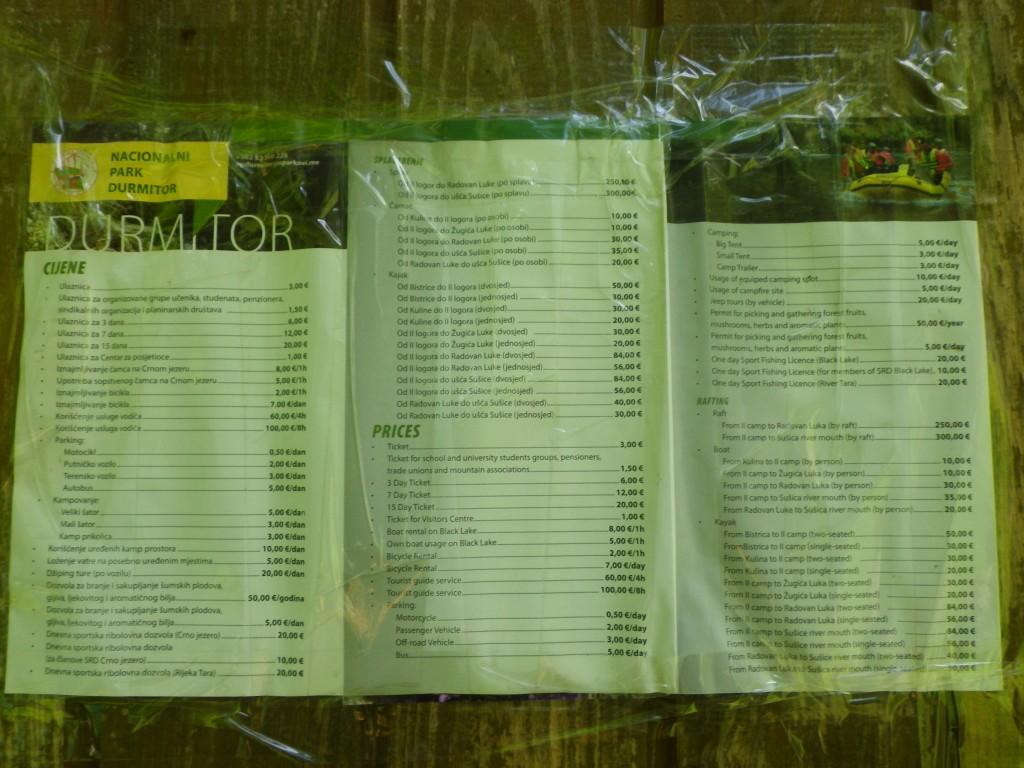 Grille tarifaire des différents droits dans le parc national de Durmitor