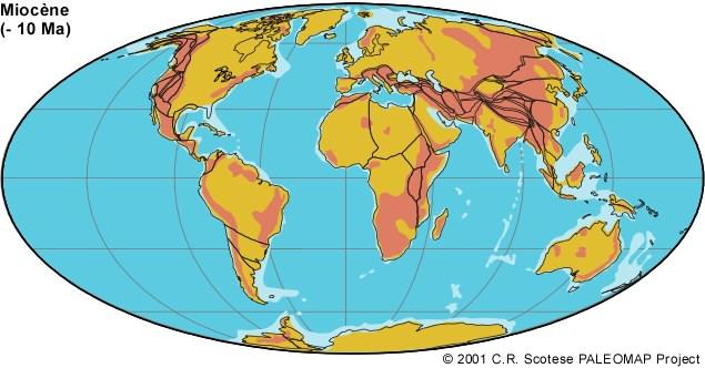 Légende : Le Monde il y a 10 millions d'années. La collision de la plaque adriatique avec la plaque européenne a entrainé la création des Alpes et, entre autres, l'élèvement des plateaux calcaires des balkans.